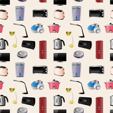 Household appliances seamless pattern Vector