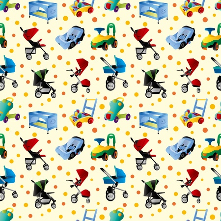baby carriage seamless pattern Vector