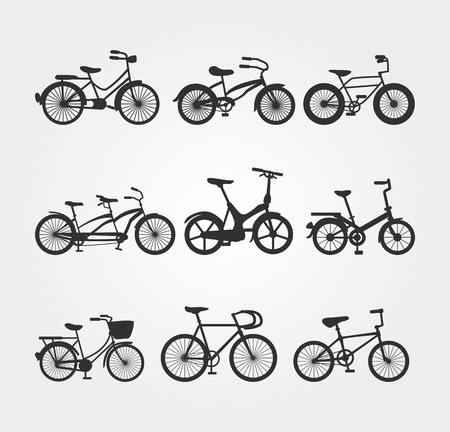 Set of Bicycle Silhouettes  Vector