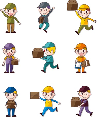 carrying box: Express de gente de la entrega Vectores
