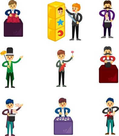 set of Cartoon magician  Vector
