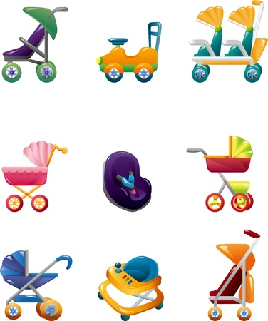 stroller: set of baby carriage