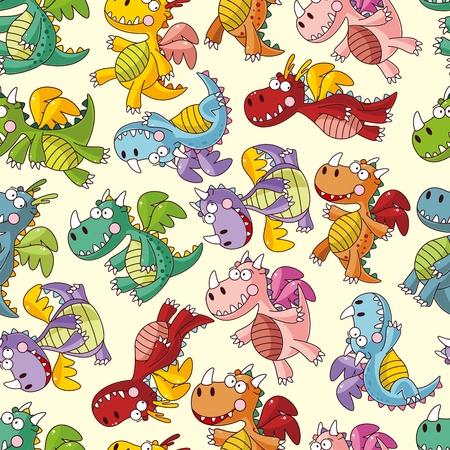 fairy story: cartoon fire dragon seamless pattern Illustration