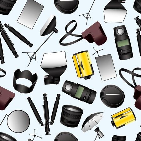 Photographic equipment seamless pattern Vector