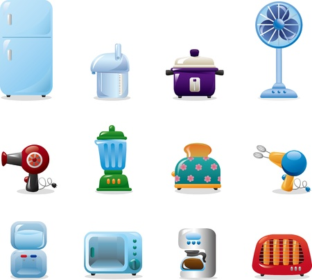 vacuuming: home appliances icons Illustration