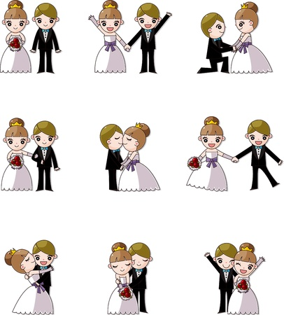 set of wedding ,Bridegroom and Bride Vector