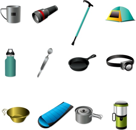 outdoor activities: Camping tools Illustration