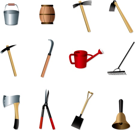 hoe: set of Gardening tools Illustration