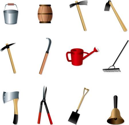 un conjunto de herramientas de jardinería Ilustración de vector