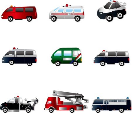 emergency vehicle: Vector illustration of different types car