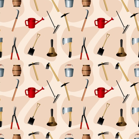 Gardening tools seamless pattern Vector