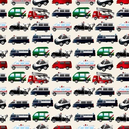 camion de bomberos: diferentes tipos de patrones coche sin fisuras Vectores