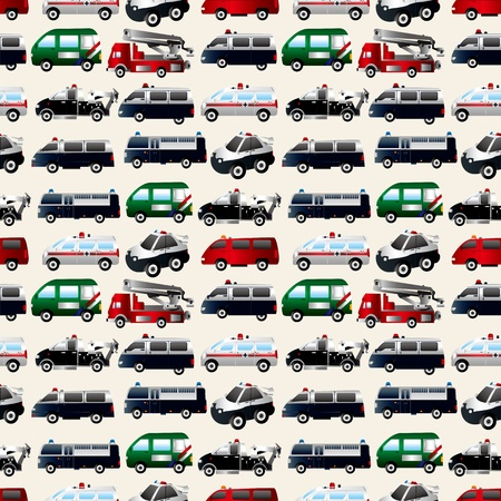 fire truck:  different types car seamless pattern