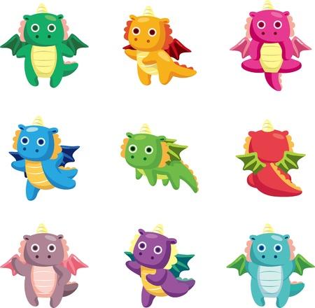cute dragon: cartoon fat fire dragon icon set