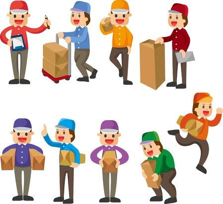 man carrying box: Express delivery people  Illustration