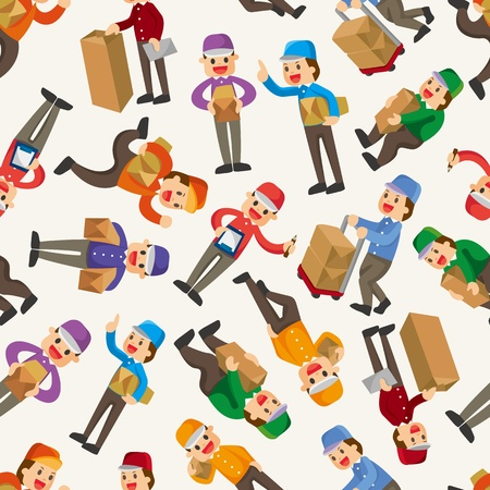 express delivery: Express delivery people seamless pattern