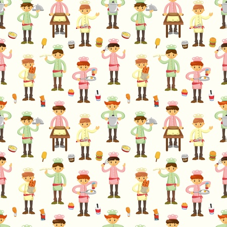 seamless cartoon chef pattern  Vector