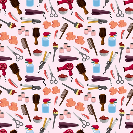 cartoon hairdresser: hairdressing KIT seamless pattern