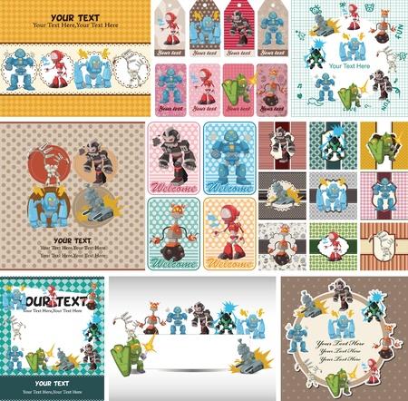 cartoon robot card Stock Vector - 12816578