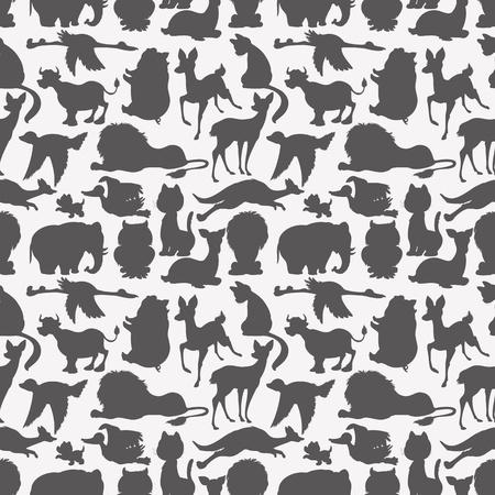 Seamless animals silhouettes 일러스트