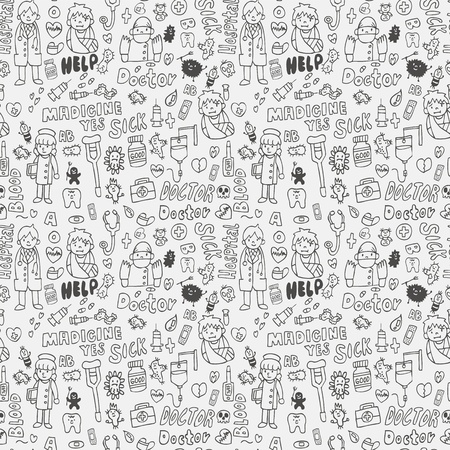 doodle doctor element seamless pattern Vector
