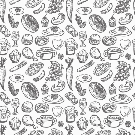 bread and butter: seamless food pattern  Illustration