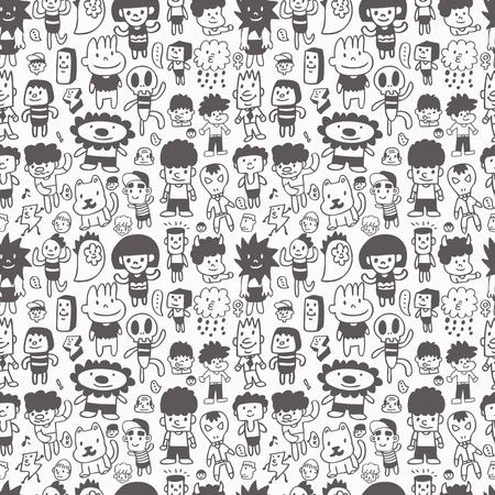 pattern monster: cartone animato seamless Vettoriali