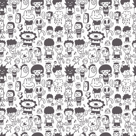 pattern monster: seamless cartoon pattern  Illustration