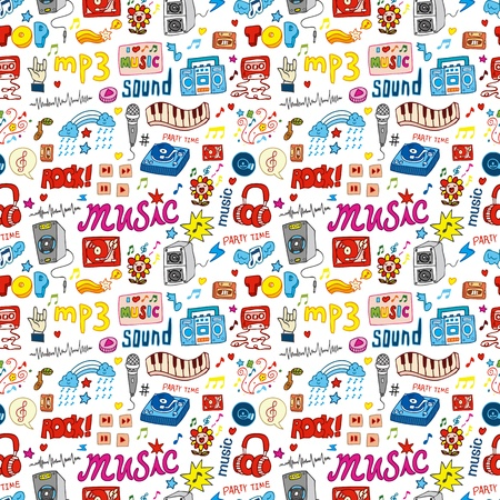 plucking an instrument: cute music icon seamless pattern  Illustration