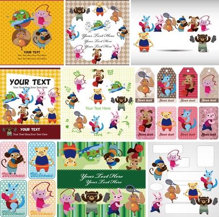 hula: dibujos animados de animales tarjeta de deporte