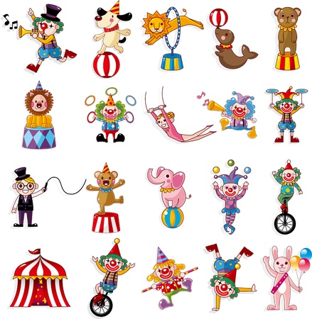 clowns: cartoon happy circus show icons collection