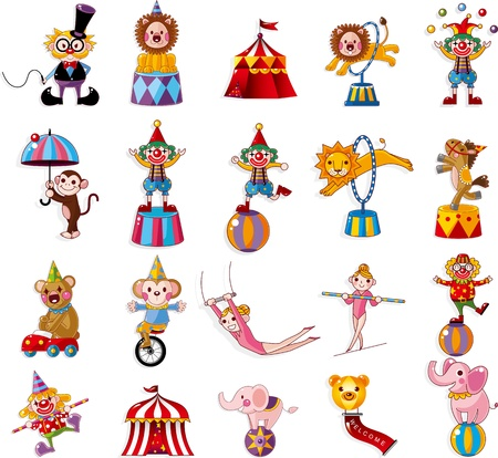 cartoon circus: cartoon happy circus show icons collection
