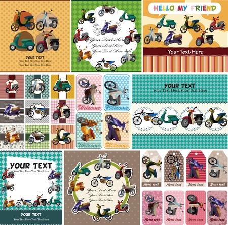 모터쇼: 만화 오토바이 카드 일러스트