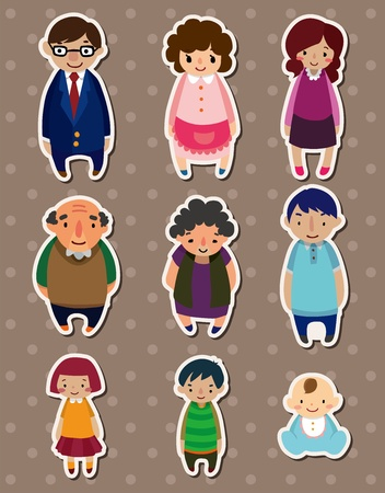 grandfather and grandmother: cartoon family Stickers,Label  Illustration