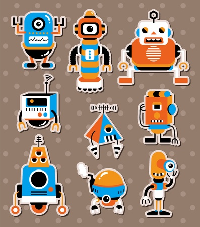 cartoon robot sticers Illustration