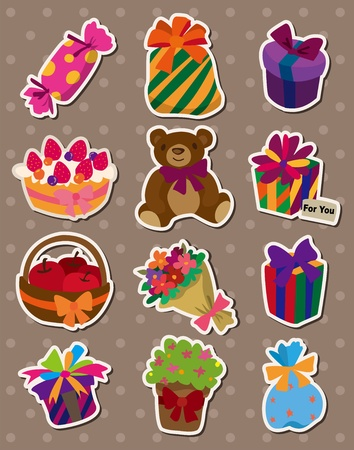 cartoon gift stickers Vector