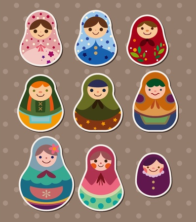 Russian dolls stickers Stock Vector - 13056761