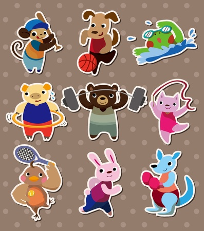 animal sport stickers 일러스트