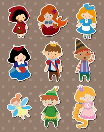 cartoon little red riding hood: story people stickers Illustration