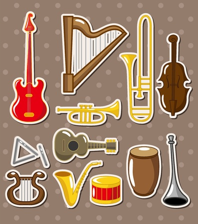 cartoon musical instruments stickers Vector