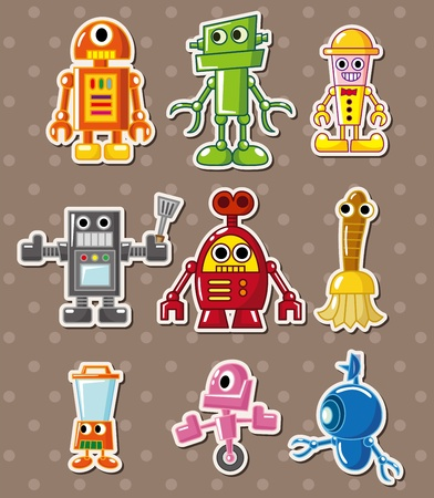 funny robot: autocollants de robot Illustration