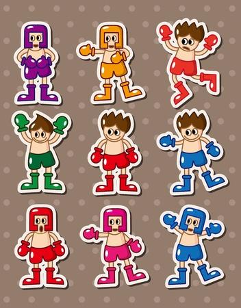 boxer stickers Vector
