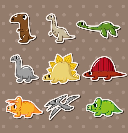 dinosaur stickers Vector