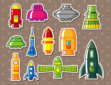 spaceship stickers Vector