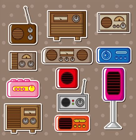 radio stickers Vector