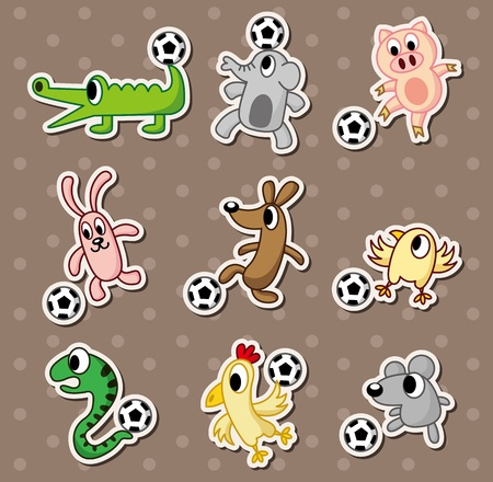 animal football stickerssoccer ball stickers Vector