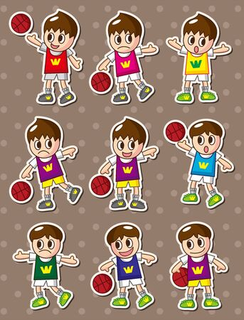 cartoon basketball player stickers Vector
