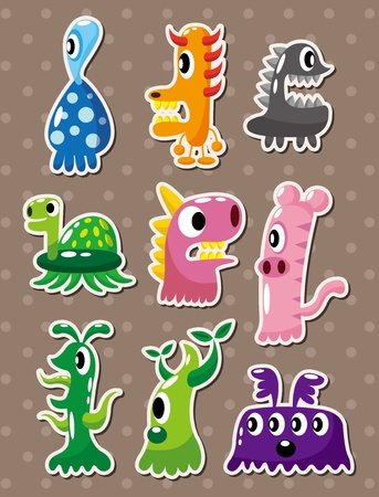 fictitious: cartoon monster stickers Illustration