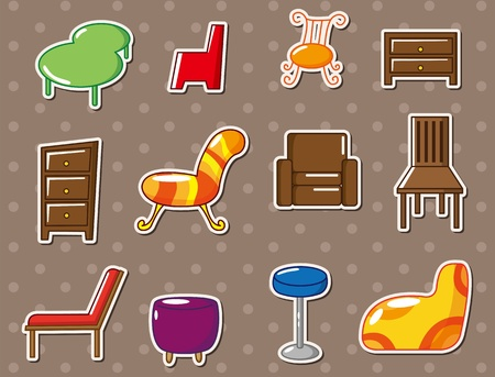 cartoon furniture stickers Vector