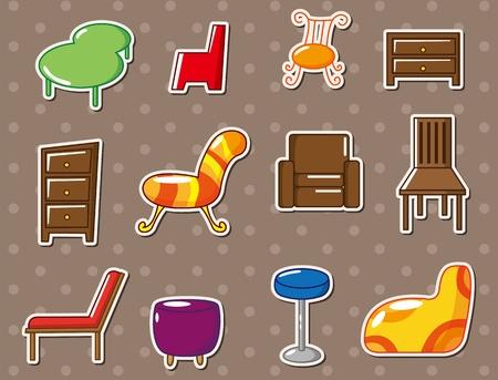 cartoon furniture stickers Illustration